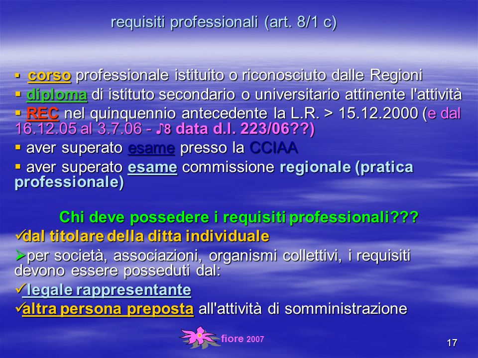 fiore 2007 17 requisiti professionali (art.