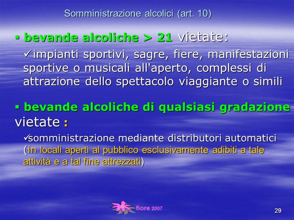 fiore 2007 29 Somministrazione alcolici (art.