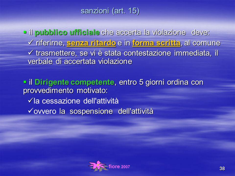fiore 2007 38 sanzioni (art.