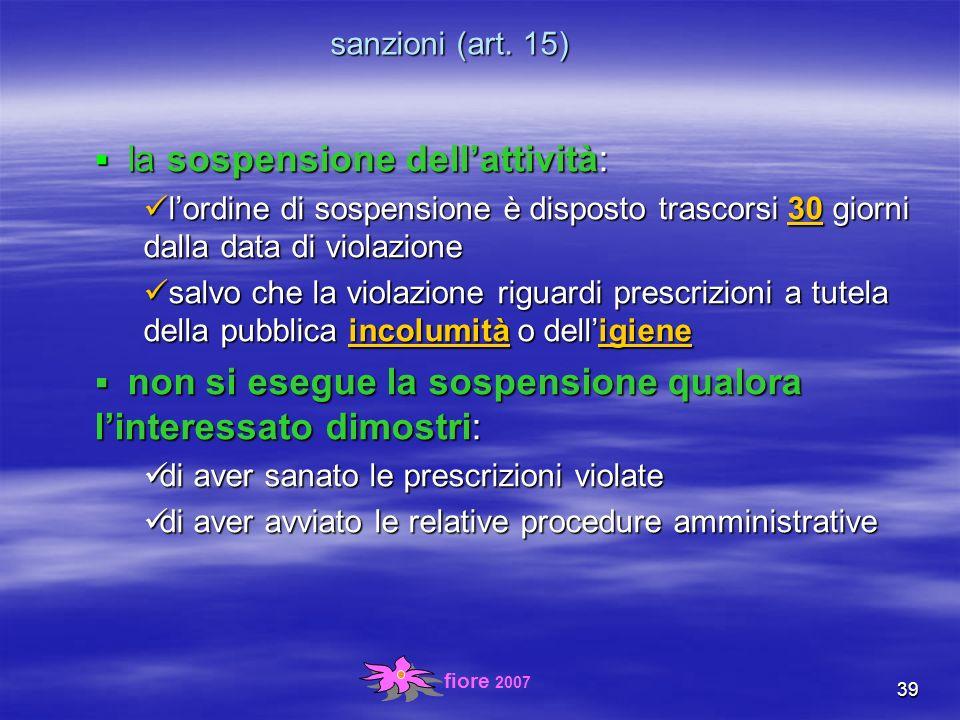 fiore 2007 39 sanzioni (art.