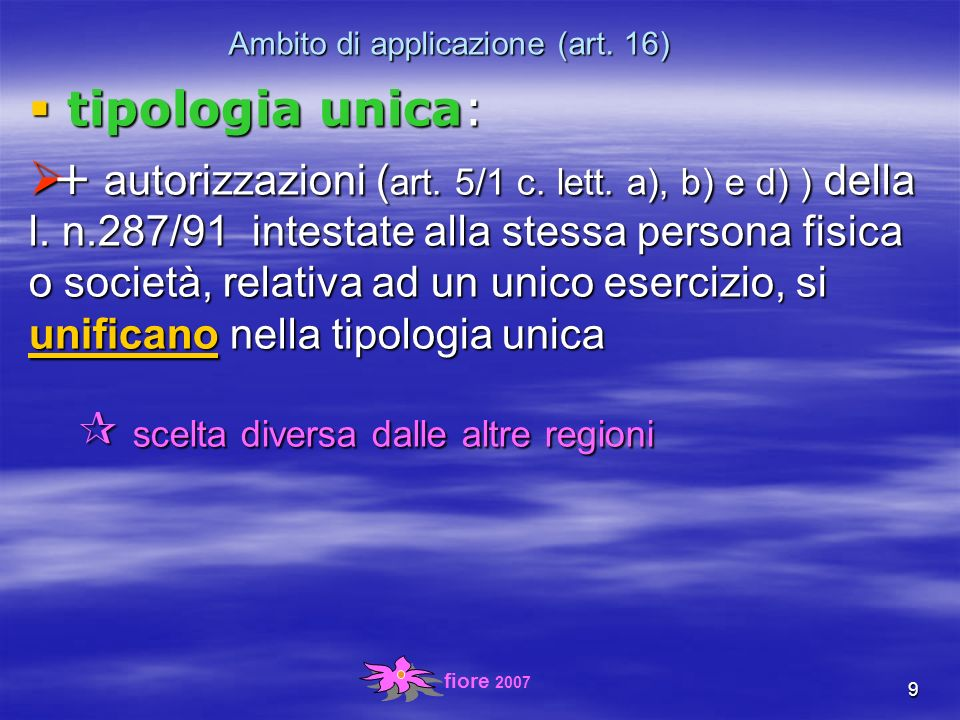 fiore 2007 20 locali (art.5) quali obblighi per i locali??.