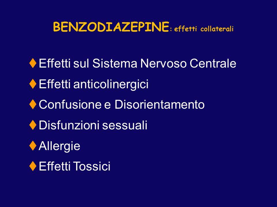 BENZODIAZEPINE : effetti collaterali tEffetti sul Sistema Nervoso Centrale tEffetti anticolinergici tConfusione e Disorientamento tDisfunzioni sessual
