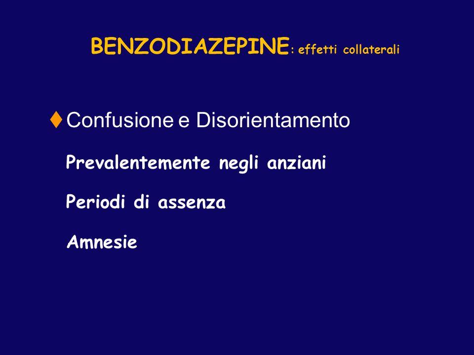 BENZODIAZEPINE : effetti collaterali Confusione e Disorientamento Prevalentemente negli anziani Periodi di assenza Amnesie