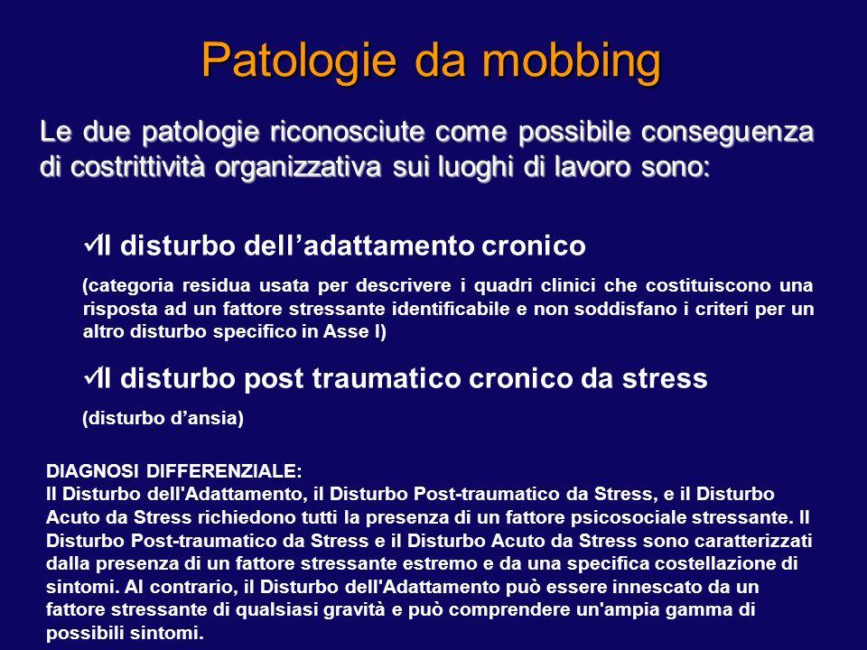 Le due patologie riconosciute come possibile conseguenza di costrittività organizzativa sui luoghi di lavoro sono: Il disturbo delladattamento cronico