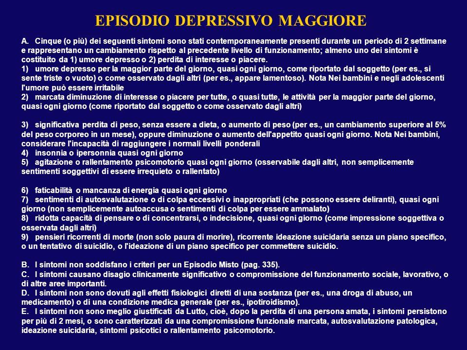 EPISODIO DEPRESSIVO MAGGIORE A.Cinque (o più) dei seguenti sintomi sono stati contemporaneamente presenti durante un periodo di 2 settimane e rapprese