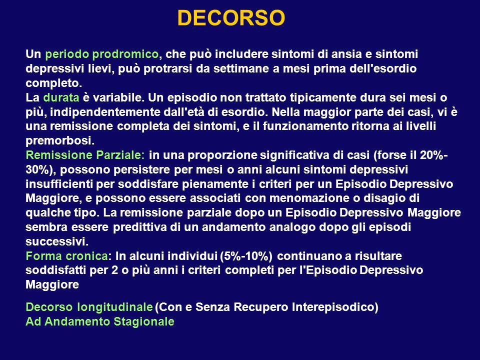 Decorso longitudinale (Con e Senza Recupero Interepisodico) Ad Andamento Stagionale DECORSO Un periodo prodromico, che può includere sintomi di ansia