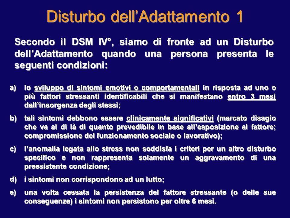 Disturbo dellAdattamento 1 Secondo il DSM IV°, siamo di fronte ad un Disturbo dellAdattamento quando una persona presenta le seguenti condizioni: a)lo