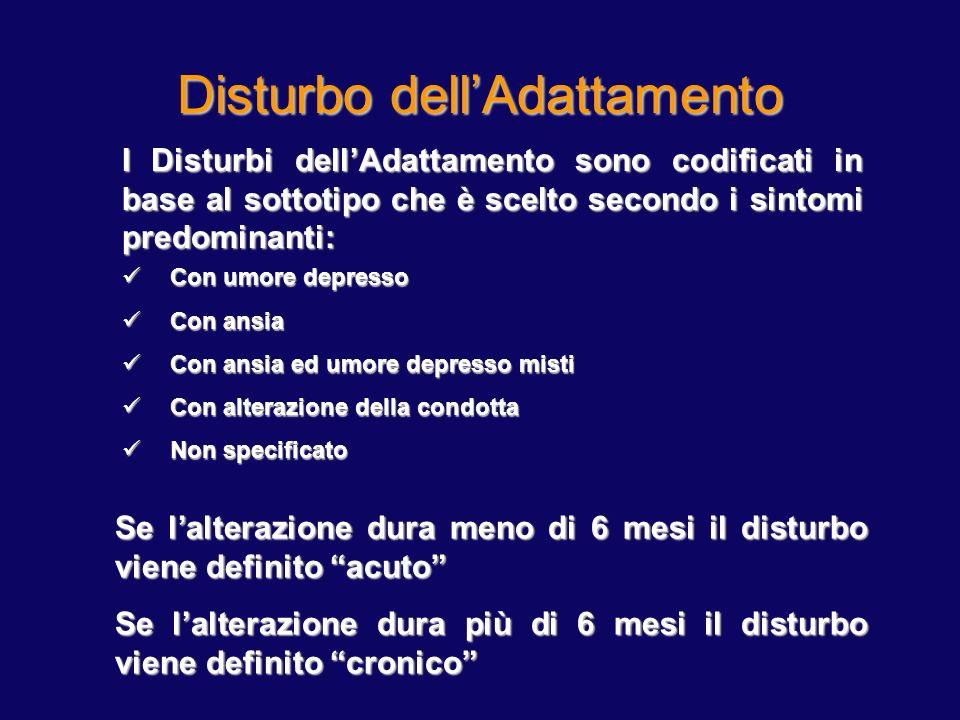 Disturbo dellAdattamento I Disturbi dellAdattamento sono codificati in base al sottotipo che è scelto secondo i sintomi predominanti: Con umore depres