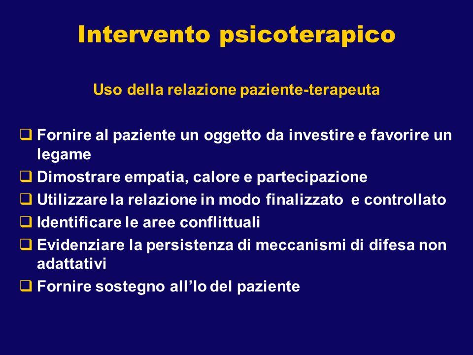 Intervento psicoterapico Uso della relazione paziente-terapeuta Fornire al paziente un oggetto da investire e favorire un legame Dimostrare empatia, c