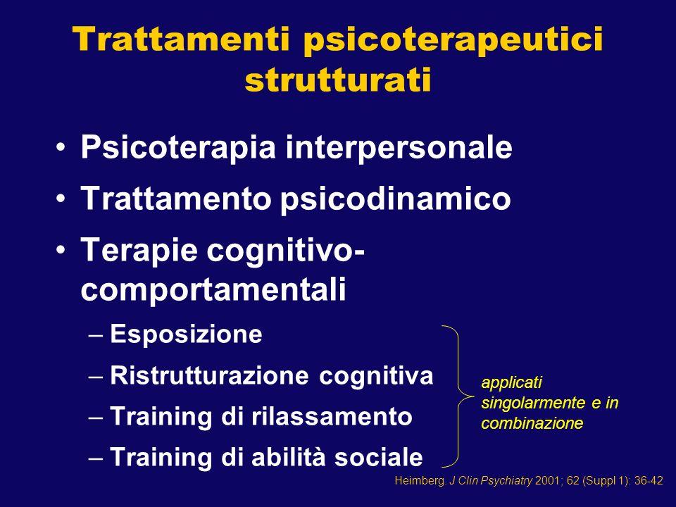 Psicoterapia interpersonale Trattamento psicodinamico Terapie cognitivo- comportamentali –Esposizione –Ristrutturazione cognitiva –Training di rilassa
