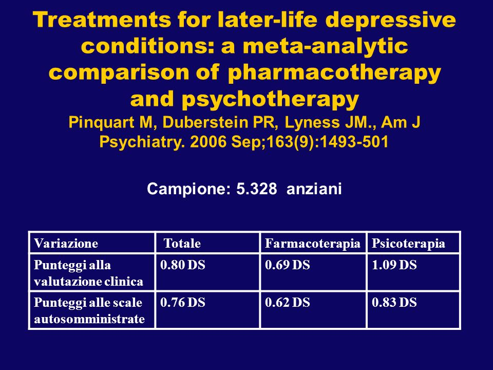Treatments for later-life depressive conditions: a meta-analytic comparison of pharmacotherapy and psychotherapy Pinquart M, Duberstein PR, Lyness JM.