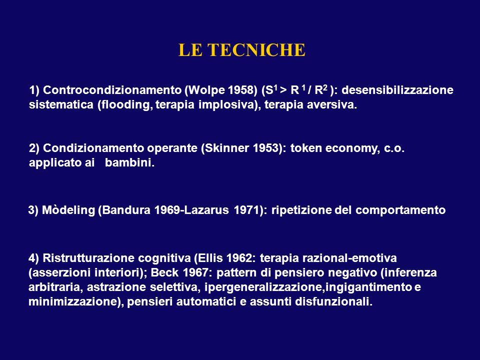 LE TECNICHE 1) Controcondizionamento (Wolpe 1958) (S 1 > R 1 / R 2 ): desensibilizzazione sistematica (flooding, terapia implosiva), terapia aversiva.