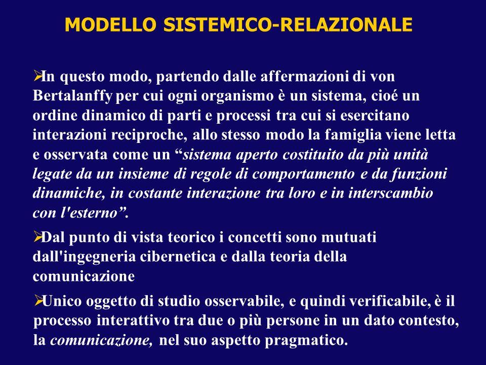 MODELLO SISTEMICO-RELAZIONALE In questo modo, partendo dalle affermazioni di von Bertalanffy per cui ogni organismo è un sistema, cioé un ordine dinam