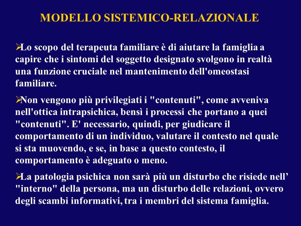 MODELLO SISTEMICO-RELAZIONALE Lo scopo del terapeuta familiare è di aiutare la famiglia a capire che i sintomi del soggetto designato svolgono in real