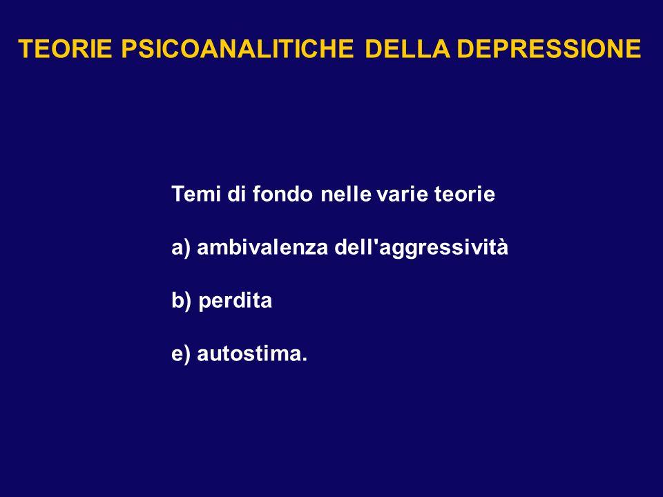 Temi di fondo nelle varie teorie a) ambivalenza dell'aggressività b) perdita e) autostima. TEORIE PSICOANALITICHE DELLA DEPRESSIONE