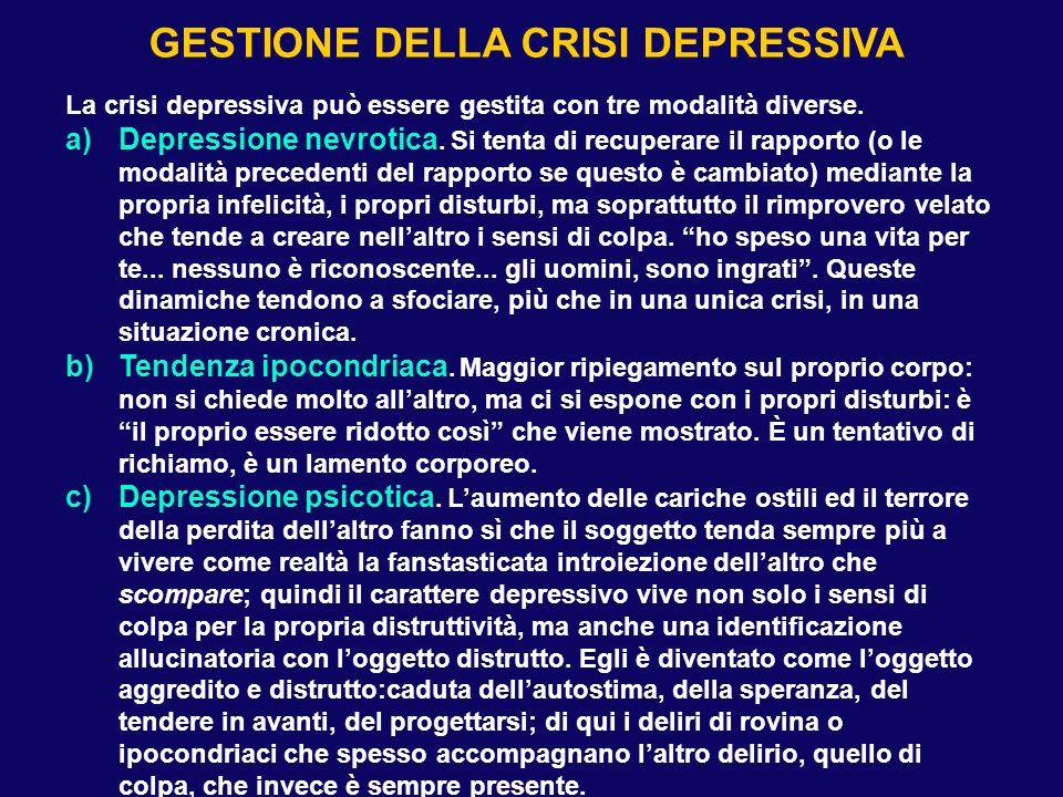 La crisi depressiva può essere gestita con tre modalità diverse. a)Depressione nevrotica. Si tenta di recuperare il rapporto (o le modalità precedenti