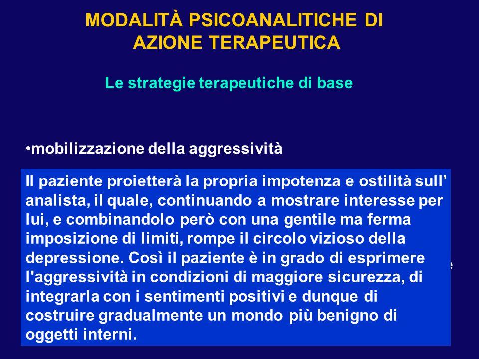 Le strategie terapeutiche di base mobilizzazione della aggressività elaborazione dei lutti non espressi esteriorizzazione transferale comprensione dei