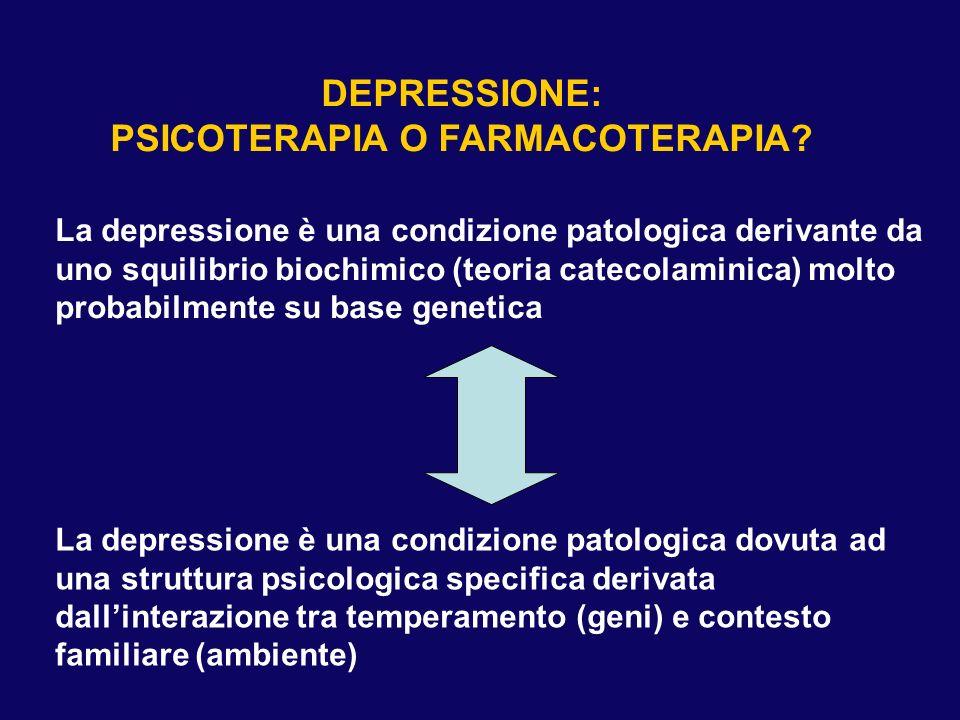 DEPRESSIONE: PSICOTERAPIA O FARMACOTERAPIA? La depressione è una condizione patologica derivante da uno squilibrio biochimico (teoria catecolaminica)