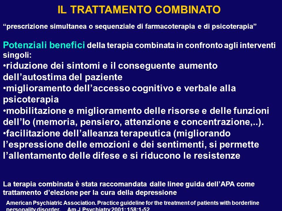 prescrizione simultanea o sequenziale di farmacoterapia e di psicoterapia Potenziali benefici della terapia combinata in confronto agli interventi sin