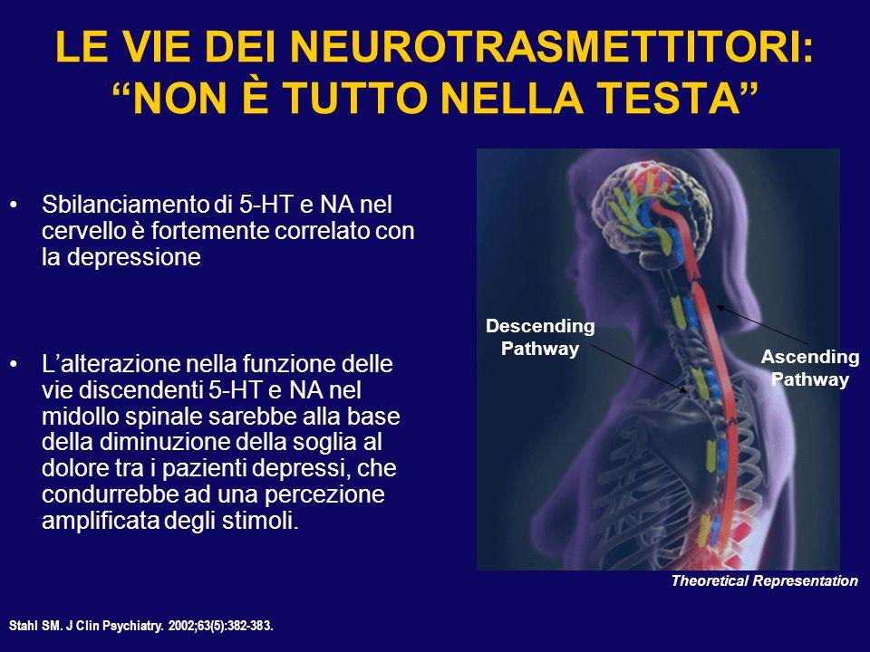 LE VIE DEI NEUROTRASMETTITORI: NON È TUTTO NELLA TESTA Sbilanciamento di 5-HT e NA nel cervello è fortemente correlato con la depressione Lalterazione