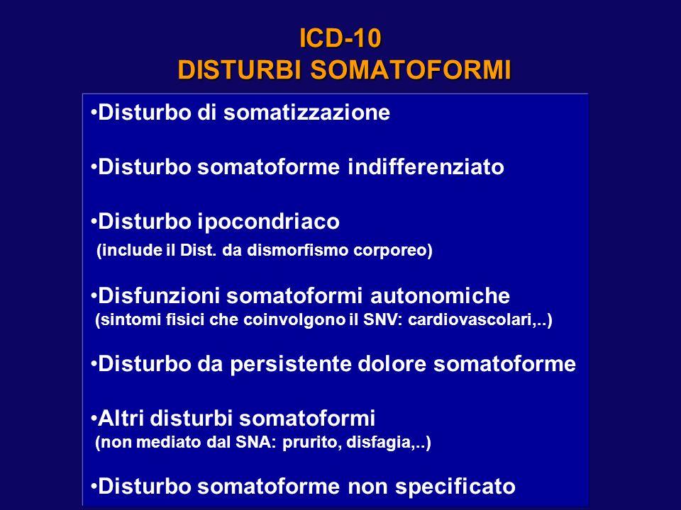 ICD-10 DISTURBI SOMATOFORMI Disturbo di somatizzazione Disturbo somatoforme indifferenziato Disturbo ipocondriaco (include il Dist. da dismorfismo cor