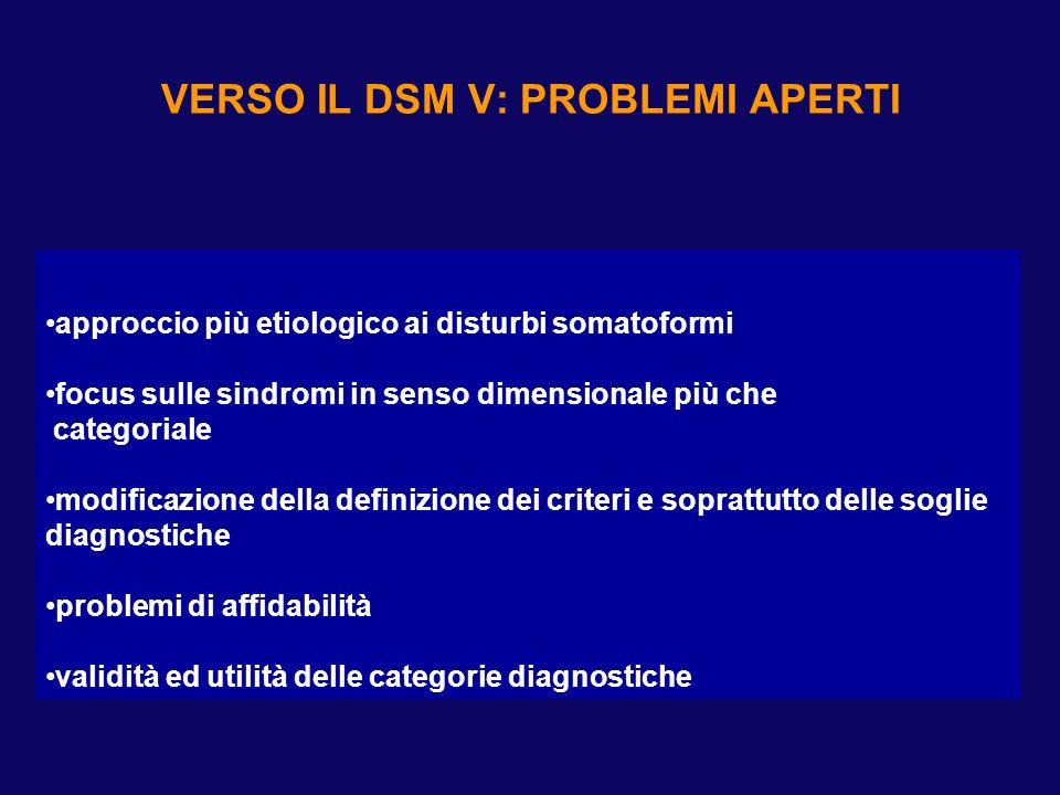 VERSO IL DSM V: PROBLEMI APERTI approccio più etiologico ai disturbi somatoformi focus sulle sindromi in senso dimensionale più che categoriale modifi