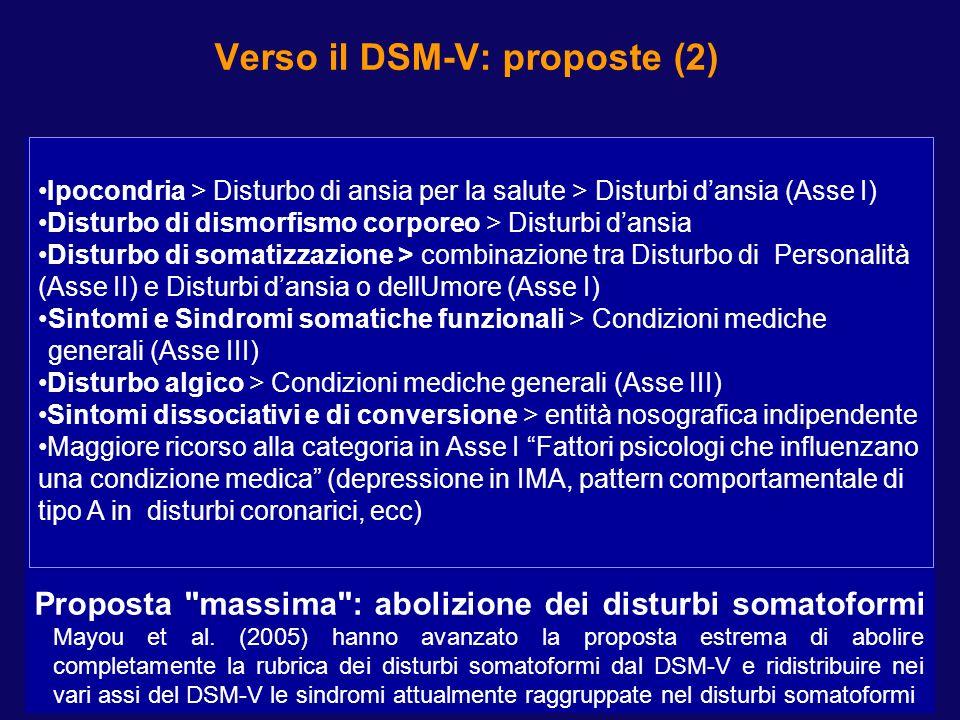 Verso il DSM-V: proposte (2) Proposta
