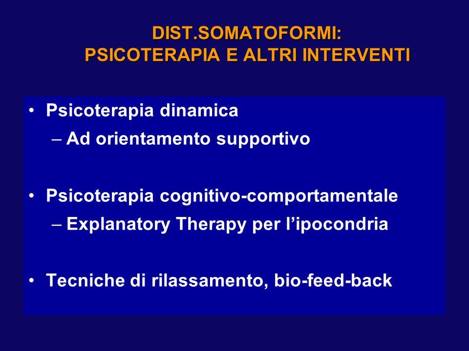 DIST.SOMATOFORMI: PSICOTERAPIA E ALTRI INTERVENTI Psicoterapia dinamica –Ad orientamento supportivo Psicoterapia cognitivo-comportamentale –Explanator