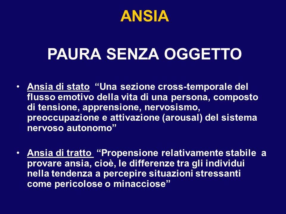 ANSIA PAURA SENZA OGGETTO Ansia di stato Una sezione cross-temporale del flusso emotivo della vita di una persona, composto di tensione, apprensione,