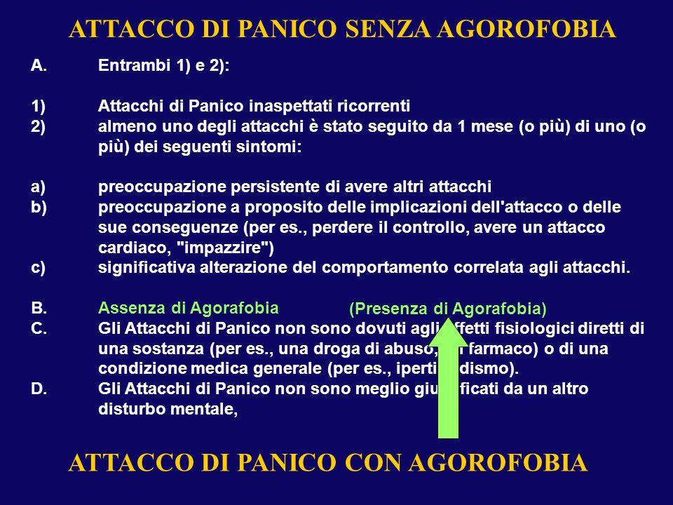 A.Entrambi 1) e 2): 1)Attacchi di Panico inaspettati ricorrenti 2)almeno uno degli attacchi è stato seguito da 1 mese (o più) di uno (o più) dei segue