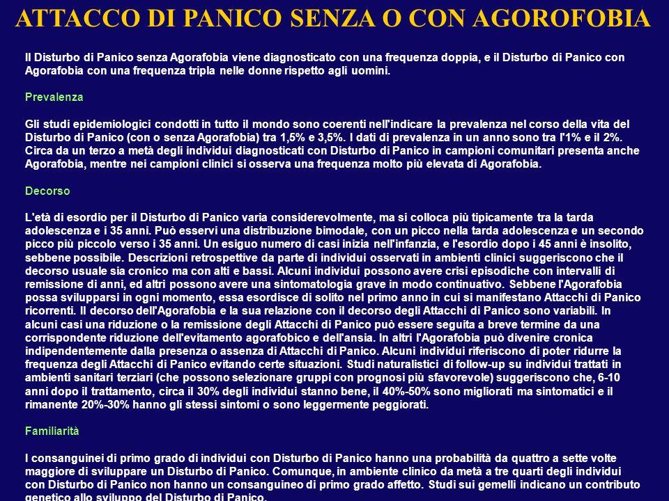 Il Disturbo di Panico senza Agorafobia viene diagnosticato con una frequenza doppia, e il Disturbo di Panico con Agorafobia con una frequenza tripla n