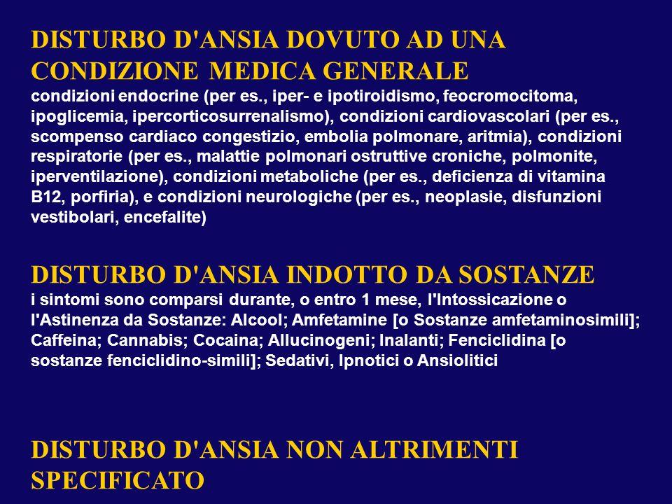 DISTURBO D'ANSIA DOVUTO AD UNA CONDIZIONE MEDICA GENERALE condizioni endocrine (per es., iper- e ipotiroidismo, feocromocitoma, ipoglicemia, ipercorti