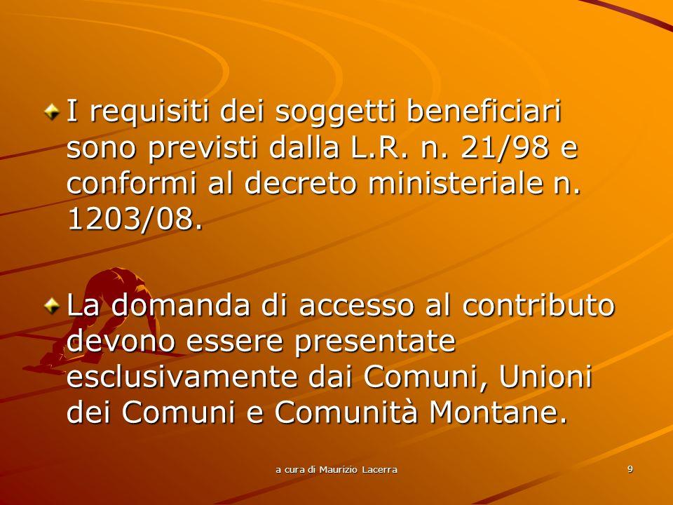 a cura di Maurizio Lacerra 10 Possono partecipare al Progetto strategico predisposto dal Comune/Unione dei Comuni/Comunità Montane le imprese che esercitano: