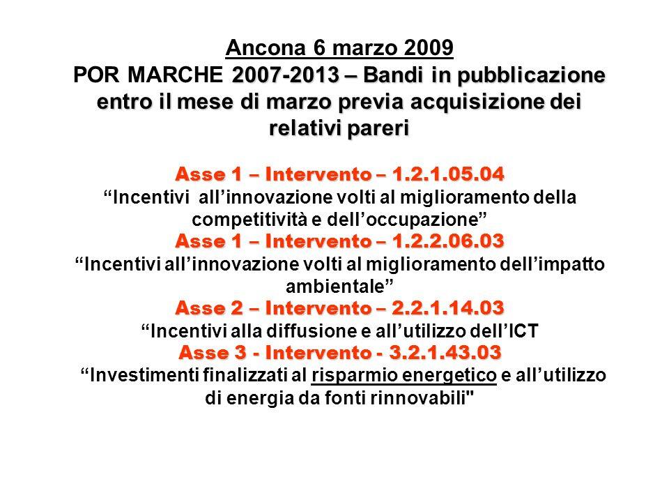 2007-2013 – Bandi in pubblicazione entro il mese di marzo previa acquisizione dei relativi pareri Asse 1 – Intervento – 1.2.1.05.04 Asse 1 – Intervento – 1.2.2.06.03 Asse 2 – Intervento – 2.2.1.14.03 Asse 3 - Intervento - 3.2.1.43.03 Ancona 6 marzo 2009 POR MARCHE 2007-2013 – Bandi in pubblicazione entro il mese di marzo previa acquisizione dei relativi pareri Asse 1 – Intervento – 1.2.1.05.04 Incentivi allinnovazione volti al miglioramento della competitività e delloccupazione Asse 1 – Intervento – 1.2.2.06.03 Incentivi allinnovazione volti al miglioramento dellimpatto ambientale Asse 2 – Intervento – 2.2.1.14.03 Incentivi alla diffusione e allutilizzo dellICT Asse 3 - Intervento - 3.2.1.43.03 Investimenti finalizzati al risparmio energetico e allutilizzo di energia da fonti rinnovabili