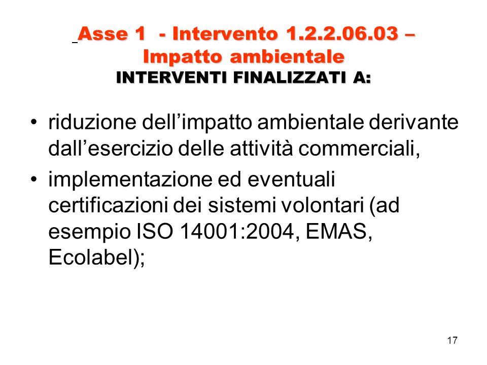 17 Asse 1 - Intervento 1.2.2.06.03 – Impatto ambientale INTERVENTI FINALIZZATI A: riduzione dellimpatto ambientale derivante dallesercizio delle attività commerciali, implementazione ed eventuali certificazioni dei sistemi volontari (ad esempio ISO 14001:2004, EMAS, Ecolabel);