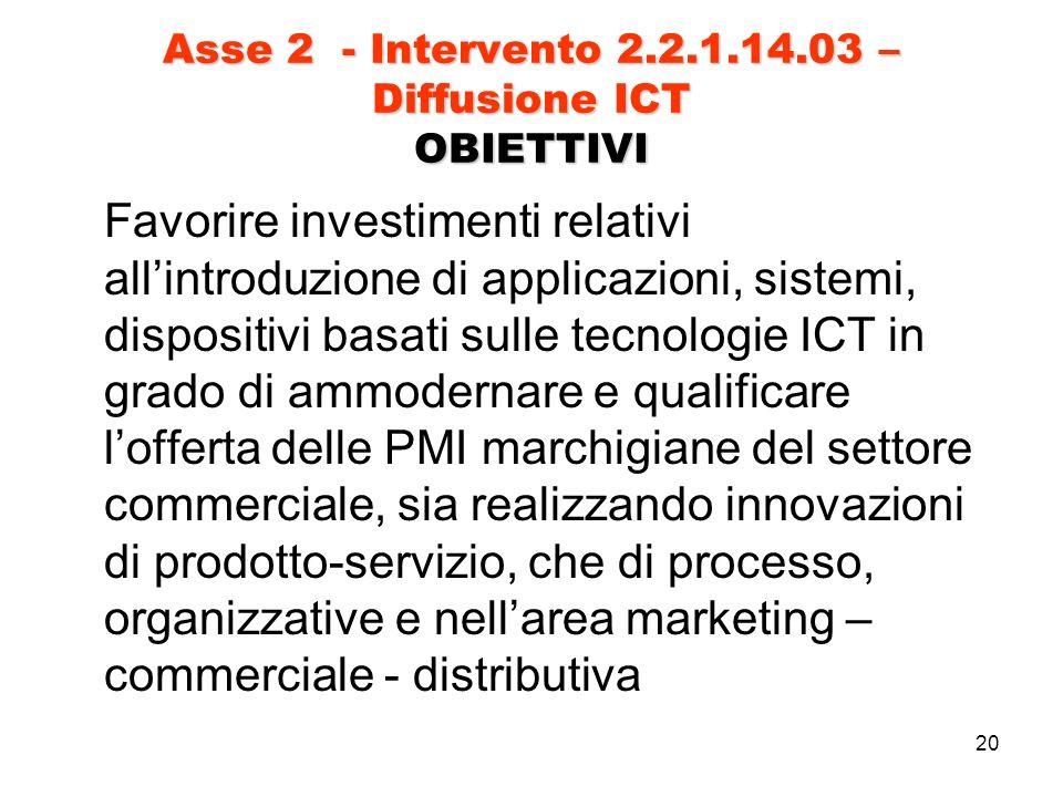 20 Asse 2 - Intervento 2.2.1.14.03 – Diffusione ICT OBIETTIVI Favorire investimenti relativi allintroduzione di applicazioni, sistemi, dispositivi basati sulle tecnologie ICT in grado di ammodernare e qualificare lofferta delle PMI marchigiane del settore commerciale, sia realizzando innovazioni di prodotto-servizio, che di processo, organizzative e nellarea marketing – commerciale - distributiva