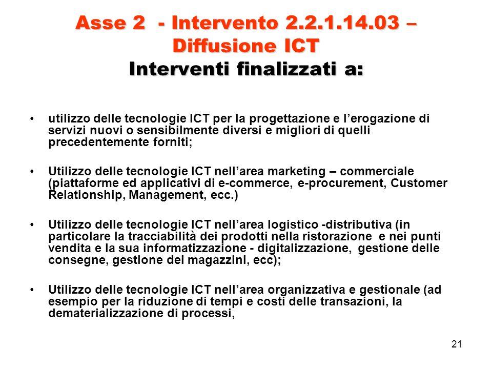 21 Asse 2 - Intervento 2.2.1.14.03 – Diffusione ICT Interventi finalizzati a: utilizzo delle tecnologie ICT per la progettazione e lerogazione di servizi nuovi o sensibilmente diversi e migliori di quelli precedentemente forniti; Utilizzo delle tecnologie ICT nellarea marketing – commerciale (piattaforme ed applicativi di e-commerce, e-procurement, Customer Relationship, Management, ecc.) Utilizzo delle tecnologie ICT nellarea logistico -distributiva (in particolare la tracciabilità dei prodotti nella ristorazione e nei punti vendita e la sua informatizzazione - digitalizzazione, gestione delle consegne, gestione dei magazzini, ecc); Utilizzo delle tecnologie ICT nellarea organizzativa e gestionale (ad esempio per la riduzione di tempi e costi delle transazioni, la dematerializzazione di processi,