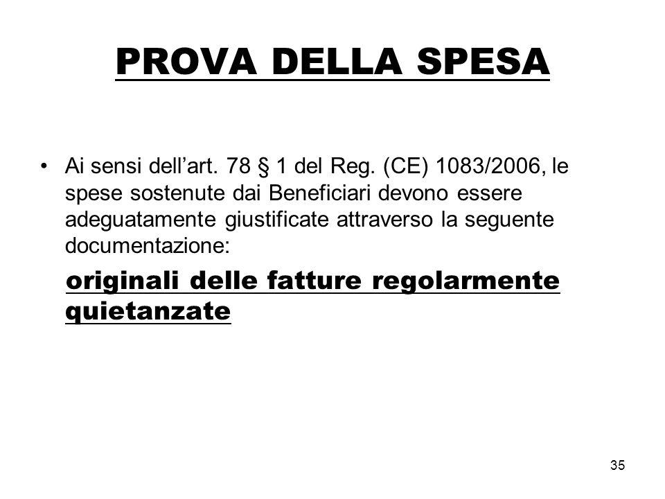 35 PROVA DELLA SPESA Ai sensi dellart. 78 § 1 del Reg.