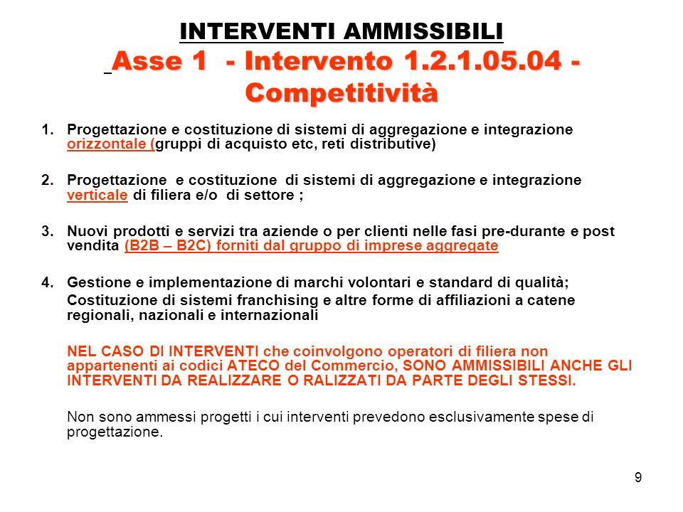 30 Asse 3 - Intervento 3.2.1.43.03 –RISPARMIO ENERGETICO INTERVENTI AMMISSIBILI Asse 3 - Intervento 3.2.1.43.03 – RISPARMIO ENERGETICO a) AUDIT ENERGETICI (diagnosi energetiche ex ante ed ex post) finalizzati alla individuazione degli interventi più efficaci in termini di risparmio energetico; b)INTERVENTI DI COIBENTAZIONE; c)INTERVENTI DI EDILIZIA BIOCLIMATICA; d)REALIZZAZIONE DI SISTEMI DI VENTILAZIONE naturale per il periodo estivo; e)SOSTITUZIONE DI IMPIANTI DI RISCALDAMENTO finalizzati al risparmio energetico; f)POMPE DI CALORE anche per il raffrescamento estivo g)INTERVENTI PER LUTILIZZO DELLE FONTI DI ENERGIA RINNOVABILI: solare fotovoltaico per produzione elettrica, energia solare termica per la produzione di acqua calda e riscaldamento ; h)UTILIZZO DI DISPOSITIVI A PIÙ ELEVATA EFFICIENZA per la combustione delle fonti energetiche non rinnovabili; i)adozione di sistemi di posizionamento in stand-by delle apparecchiature in uso saltuario, sistemi di spegnimento automatico di apparecchi in stand-by; j)rifasamento delle linee elettriche strettamente collegate allinstallazione di attrezzature e impianti finalizzati al risparmio energetico; k)sostituzione dei motori elettrici e dei sistemi di illuminazione finalizzati al risparmio energetico; l)ADOZIONE DI SISTEMI INFORMATICI che garantiscano il monitoraggio dei dati energetici; ottenimento dellattestato di qualificazione energetica – ove applicabile in base alla normativa vigente (D.lgs 192 del 19.08.2005 e succ.