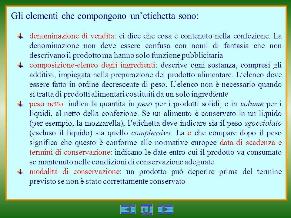 Gli elementi che compongono unetichetta sono: denominazione di vendita: ci dice che cosa è contenuto nella confezione.