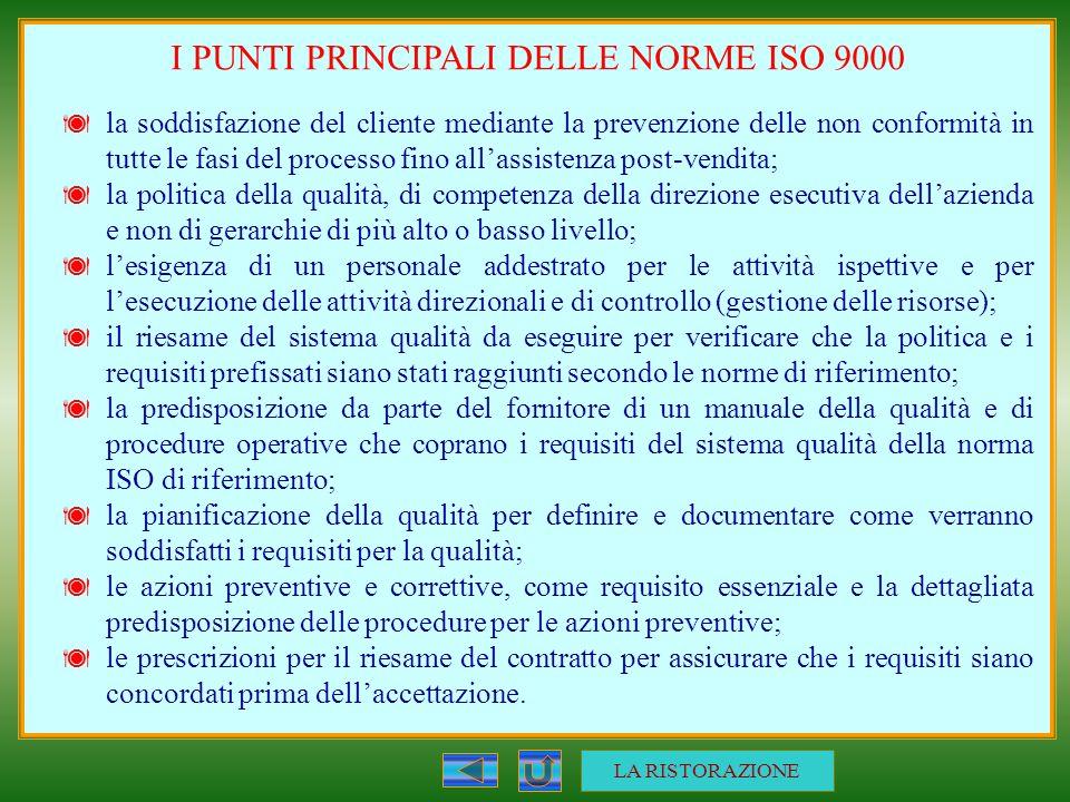 I PUNTI PRINCIPALI DELLE NORME ISO 9000 la soddisfazione del cliente mediante la prevenzione delle non conformità in tutte le fasi del processo fino a