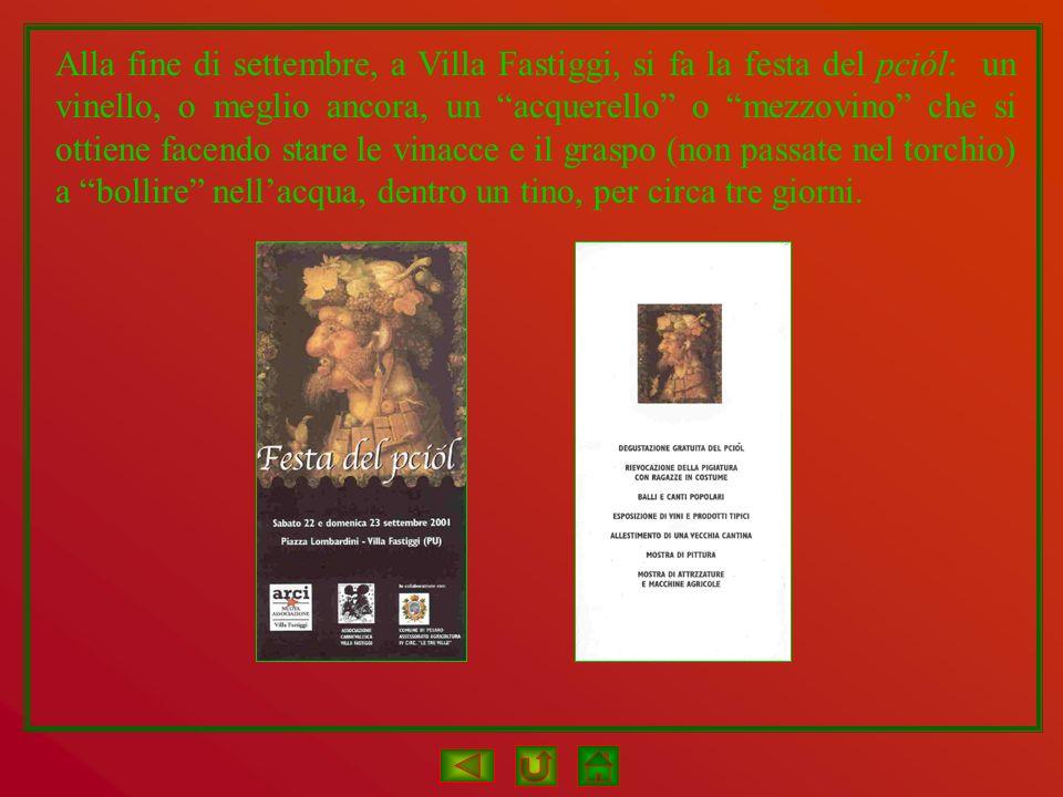 Alla fine di settembre, a Villa Fastiggi, si fa la festa del pciól: un vinello, o meglio ancora, un acquerello o mezzovino che si ottiene facendo star