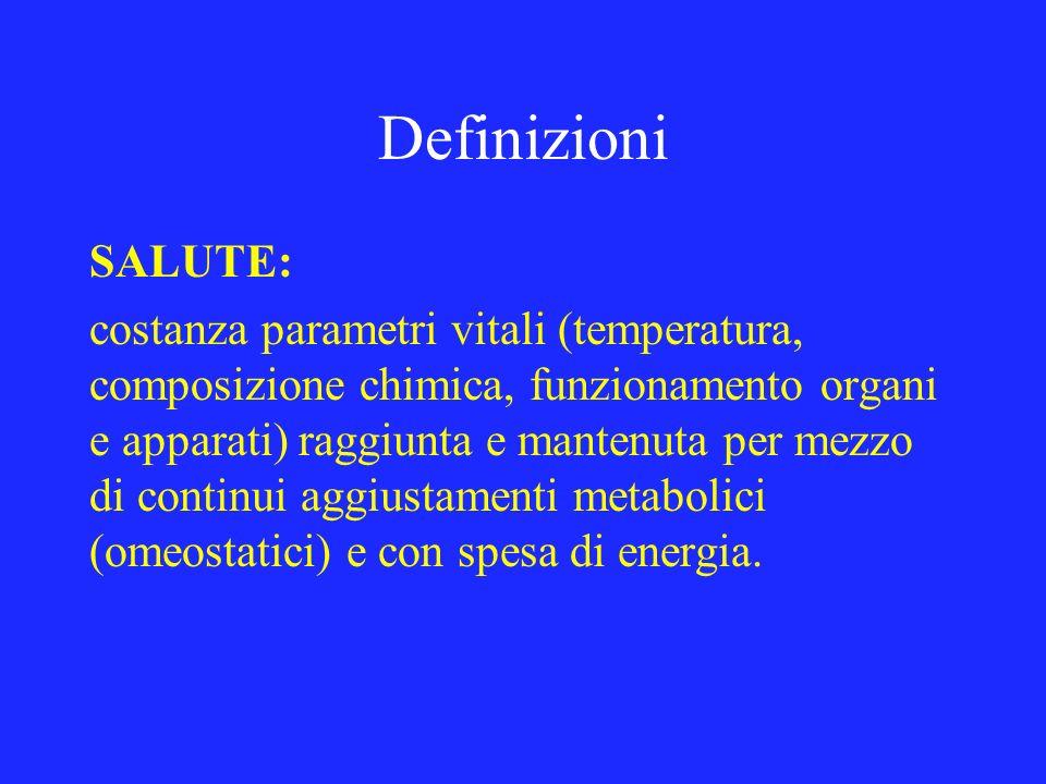 Definizioni SALUTE: costanza parametri vitali (temperatura, composizione chimica, funzionamento organi e apparati) raggiunta e mantenuta per mezzo di