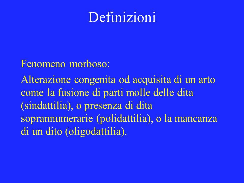 Definizioni Fenomeno morboso: Alterazione congenita od acquisita di un arto come la fusione di parti molle delle dita (sindattilia), o presenza di dit