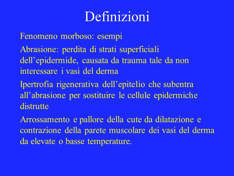 Definizioni Fenomeno morboso: esempi Abrasione: perdita di strati superficiali dellepidermide, causata da trauma tale da non interessare i vasi del de