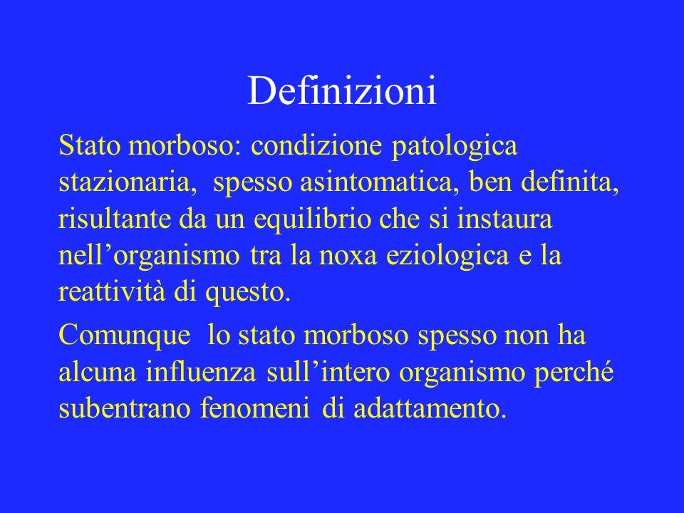 Definizioni Stato morboso: condizione patologica stazionaria, spesso asintomatica, ben definita, risultante da un equilibrio che si instaura nellorgan