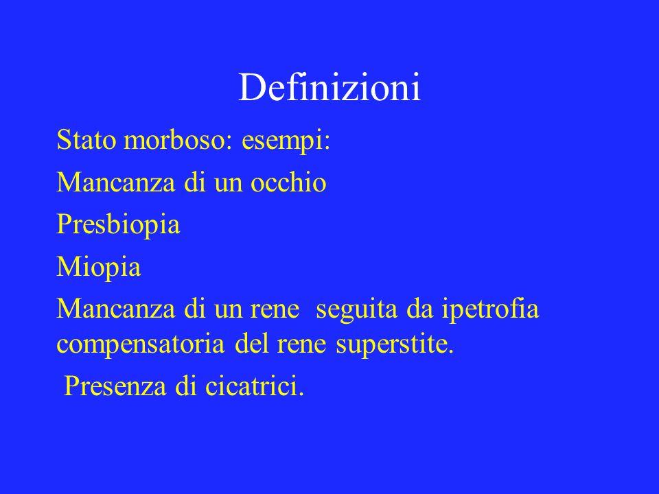 Definizioni Stato morboso: esempi: Mancanza di un occhio Presbiopia Miopia Mancanza di un rene seguita da ipetrofia compensatoria del rene superstite.