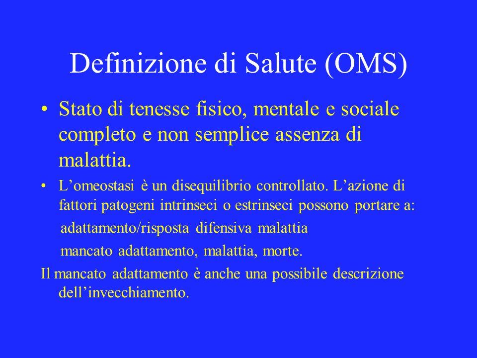 Definizione di Salute (OMS) Stato di tenesse fisico, mentale e sociale completo e non semplice assenza di malattia. Lomeostasi è un disequilibrio cont