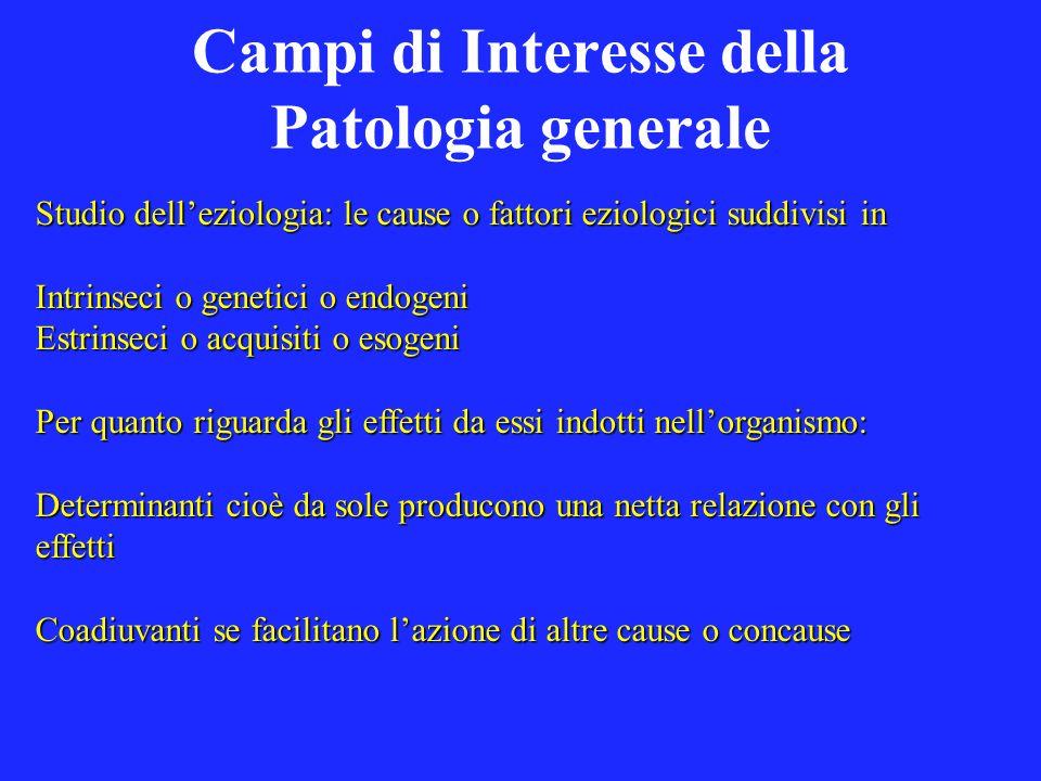Campi di Interesse della Patologia generale Studio delleziologia: le cause o fattori eziologici suddivisi in Intrinseci o genetici o endogeni Estrinse