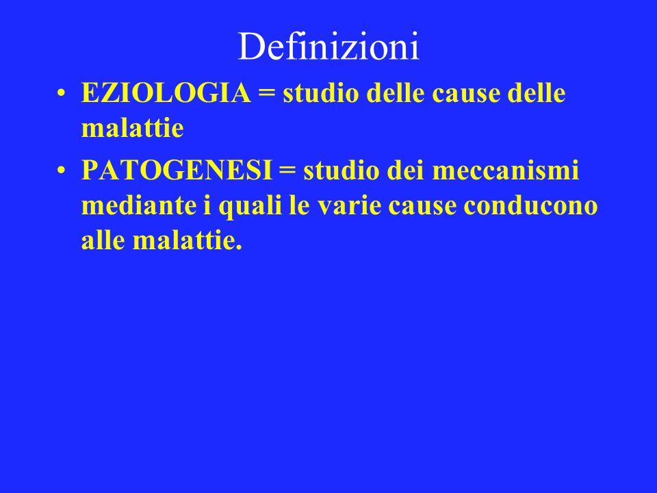 Definizioni EZIOLOGIA = studio delle cause delle malattie PATOGENESI = studio dei meccanismi mediante i quali le varie cause conducono alle malattie.